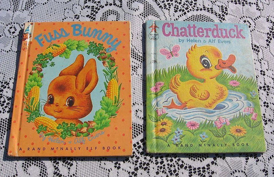 """Fuss Bunny"" and ""Chatterduck"" Rand McNally Elf Children Book Set"