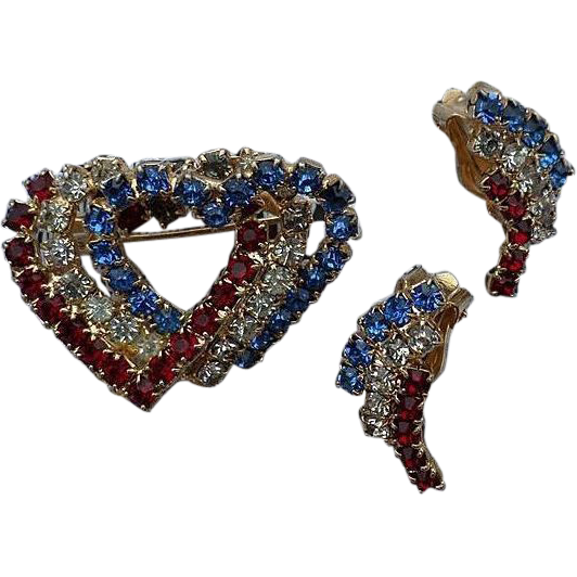 Patriotic Rhinestone Heart Pin and Clip Earrings Set