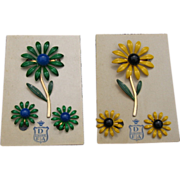 DuBarry Enamel Flower Pin Set