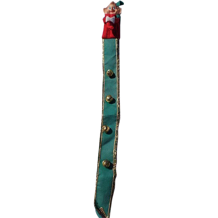 Rare Knee Hugger Pixie Elf Christmas Bells Door Hanger