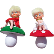 Adorable Knee Hugger Pixie Toadstool Christmas Ornaments