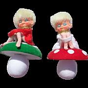 Adorable Knee Hugger Pixie Toadstool Christmas Ornaments