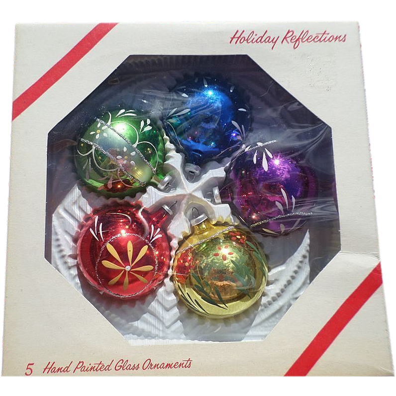 Hand painted glass christmas ornament set sold on ruby lane for Christmas glass painting