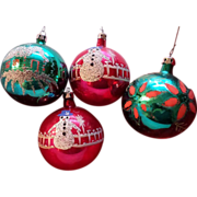 Hand Painted Poland Glass Ornament Set