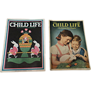 Easter 1930's April Child Life Magazine Set Of Two