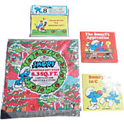 The 1980's Smurf Collection Christmas Wrapping Paper Set