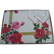 New Stevens Simtex Ribbon Rose Red Tablecloth Set