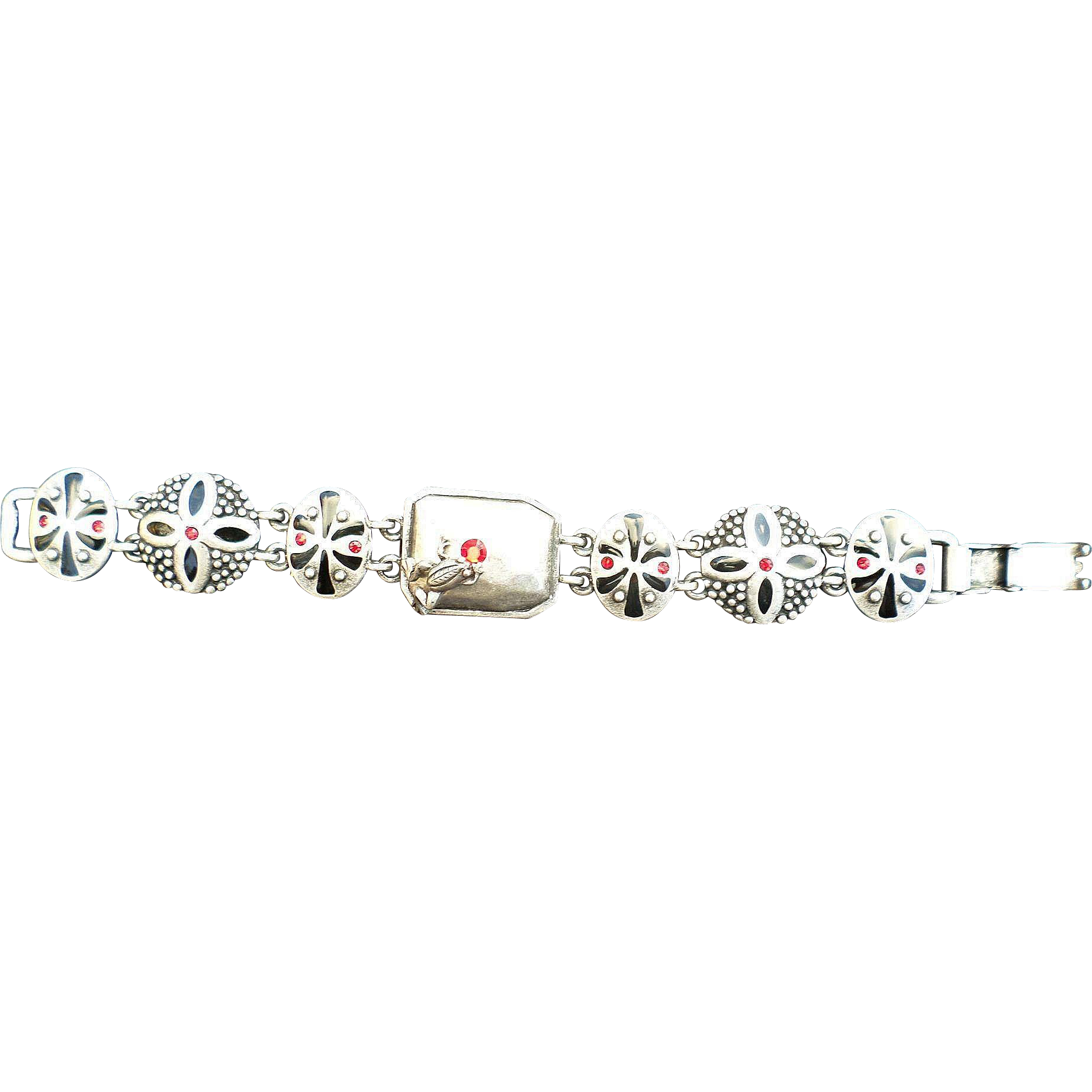 1960's Unique Metal Rhinestone and Black Inlay Frog Bracelet