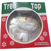 Spun Glass Angel Dresden Style Christmas Tree Topper With Box