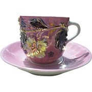 Luster Pink Floral Porcelain German Cup and Saucer
