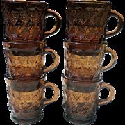 Fireking Amber Diamond Kimberly Glass Mugs
