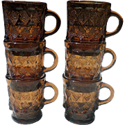 Fireking Amber Diamond Kimberly Glass Mugs