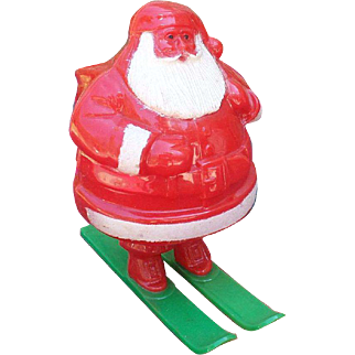 Plastic Santa on Skis Candy Container