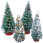 Miniature Brush Bottled Christmas Tree Set