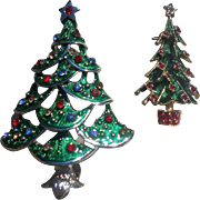 Enamel Rhinestone Christmas Tree Pin Set