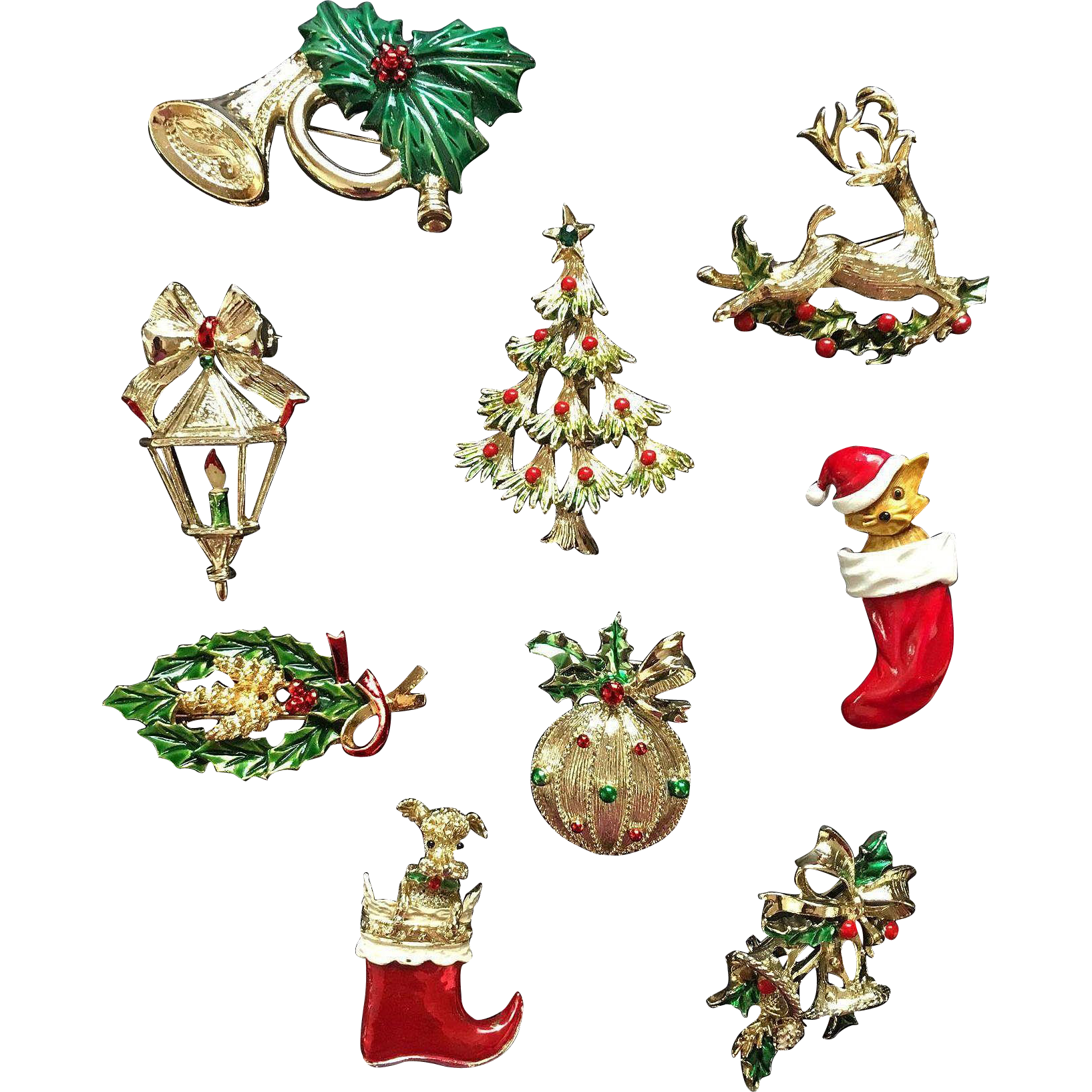 Signed Gerrys Christmas Pin Set