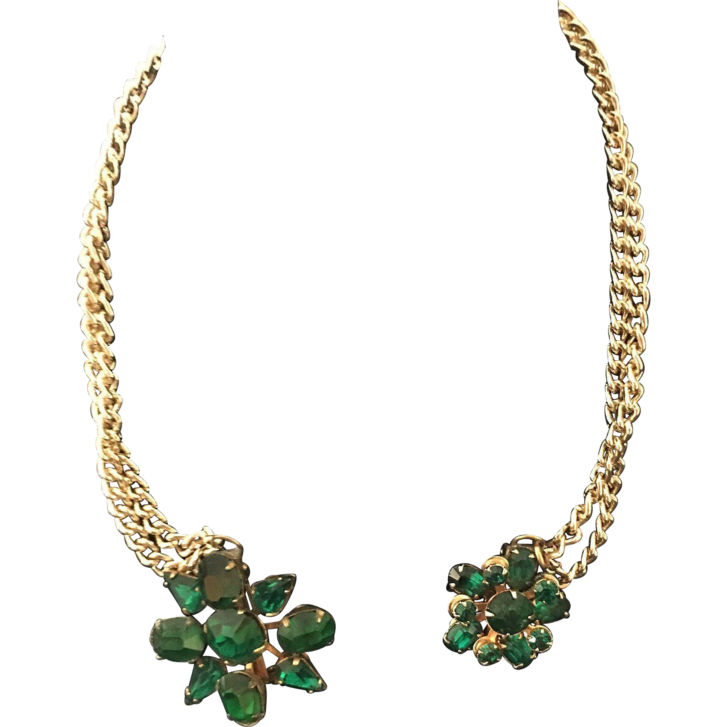 Green Rhinestone Sweater Guard Set