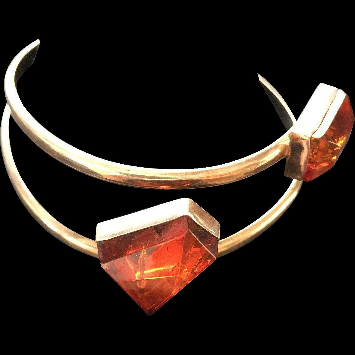 Moderistic Sterling Baltic Amber Cuff Bracelet