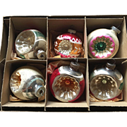 Shiny Brite Glass Indent Christmas Ornament Set