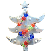 Unique Metal Beaded Christmas Tree Pin