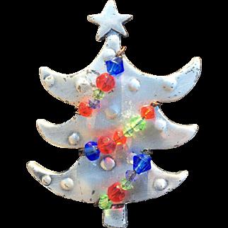 Unique Metal Beaded Christmas Tree Pin