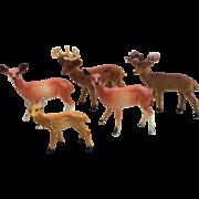 Vintage Plastic Deer Figurine Set