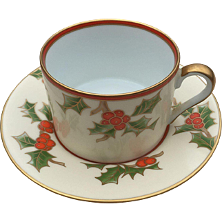 1983 Fitz and Floyd Christmas Holly Porcelain Cup and Saucer Set