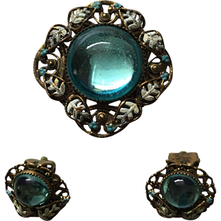 Austria Glass Filigree Pin and Clip Earring Set