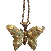 Miriam Haskell Mother Of Pearl Butterfly Necklace