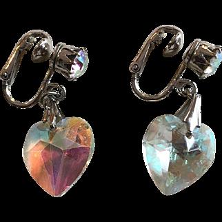 Signed Coro Clip Heart Earrings