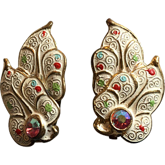 Germany Enamel Rhinestone Clip Earrings