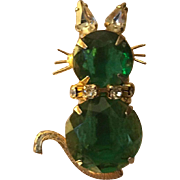 Prong Set Rhinestone Figural Cat Pin