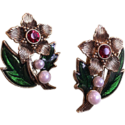 Avon Antique Goldtone Christmas Flower Ruby Rhinestones and Faux Pearls Clip Earrings Book Piece