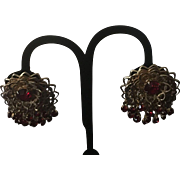 Goldtone Filigree Red Rhinestone Clip Earrings