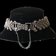 Signed NF Sterling Marcasite Bracelet