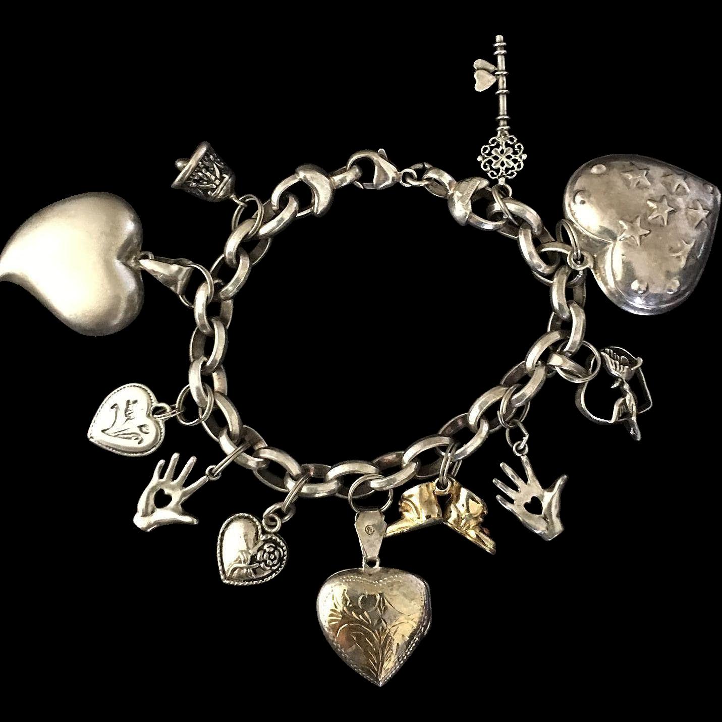 Milor Italy Sterling Heart Charm Bracelet