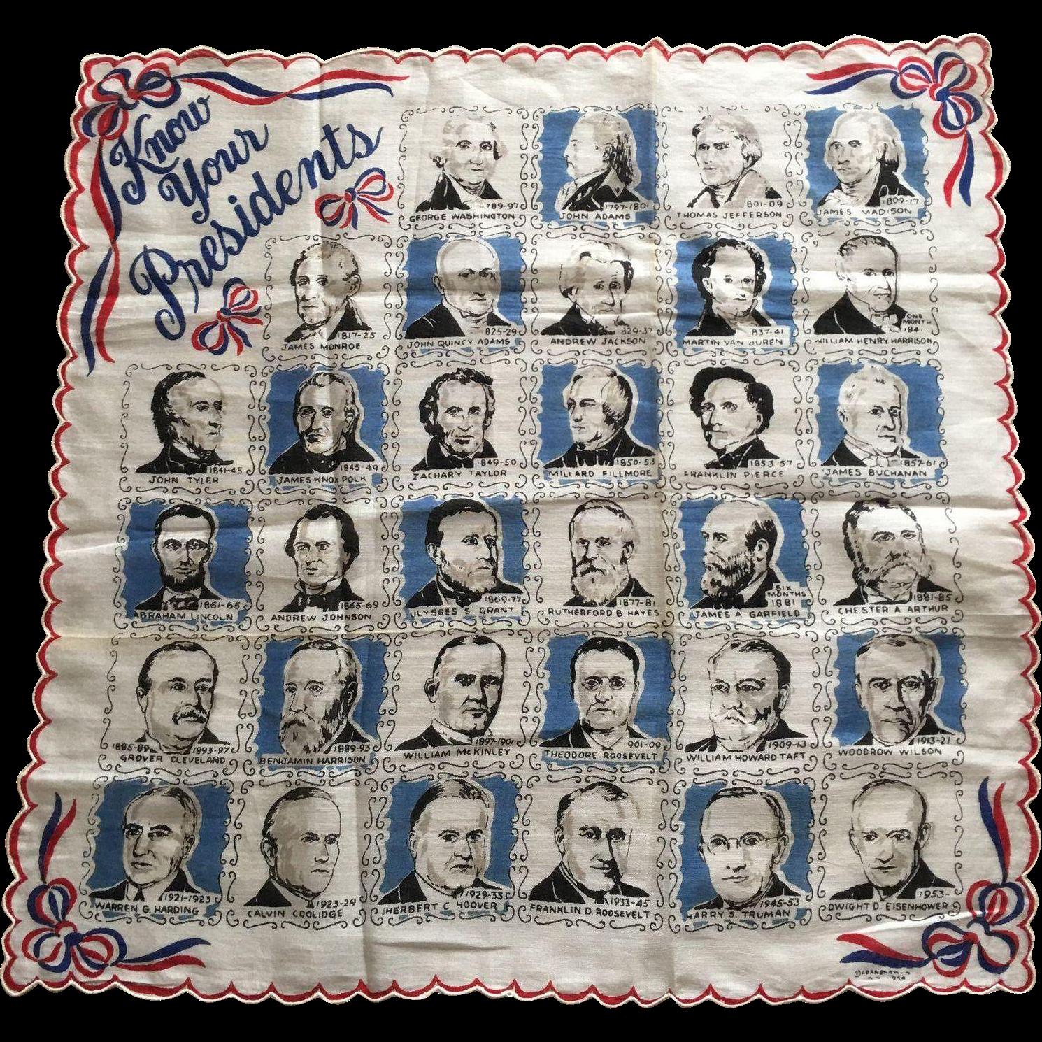1954 Franshaw Know Your Presidents Hankie