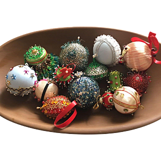 Vintage Handmade Sequin and Beaded Christmas Ornament Collection