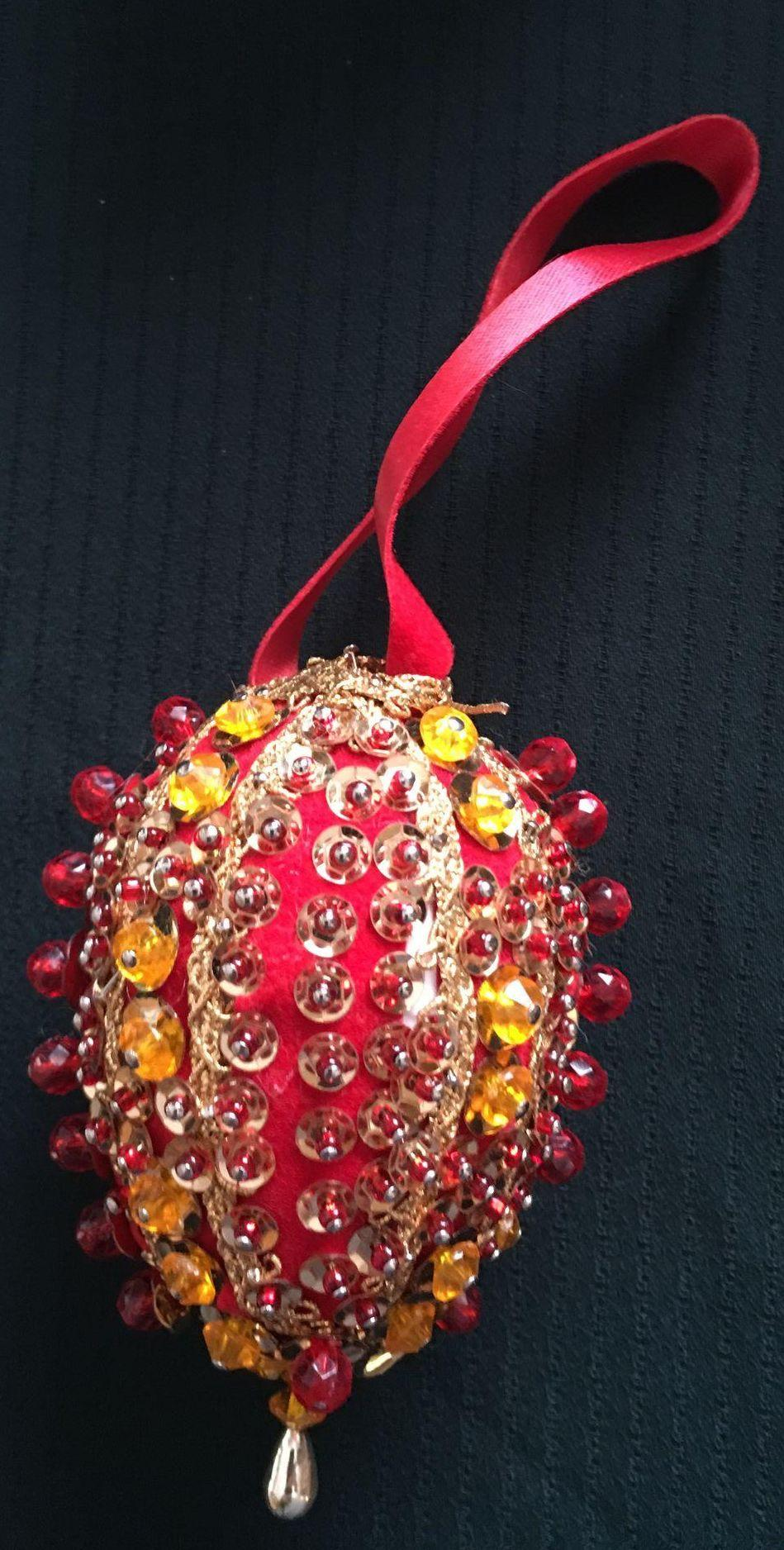 Vintage Handmade Sequin and Beaded Christmas Ornament ...