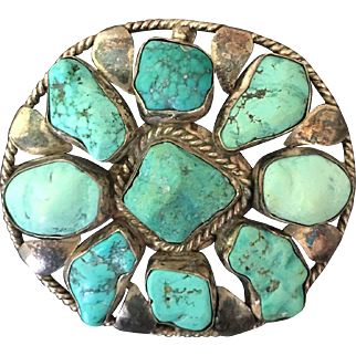 Large Sterling Turquoise Pin