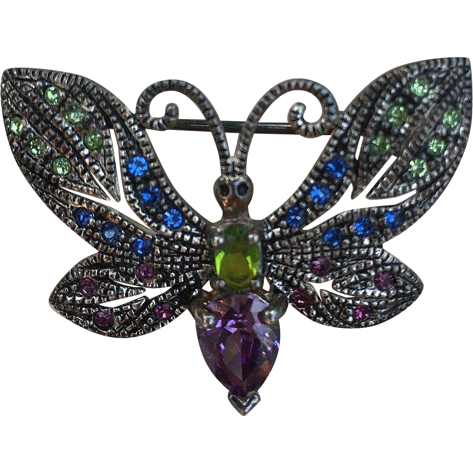 Delicate Sterling Rhinestone Marquisite Butterfly Pin