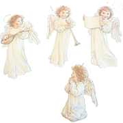 1989 Kathy Lawrence Diecut Cardboard Angel Ornaments