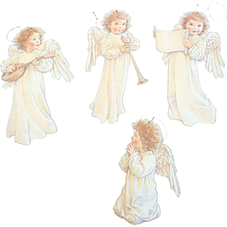 1989 Kathy Lawrence Diecut Cardboard Angel Ornaments