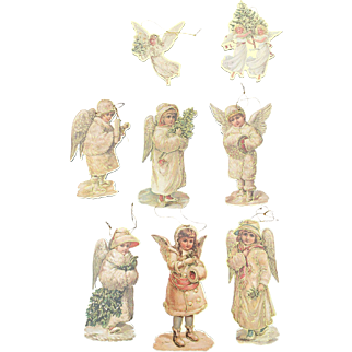 1983 Cardboard Die Cut Angel Ornament Set