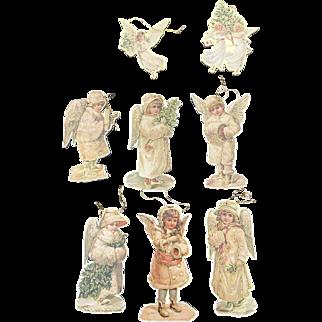 1983 Cardboard Die Cut Angel Ornament Set