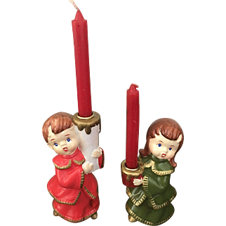Hand Decorated Star Ceramic Christmas Choir Candle Holders