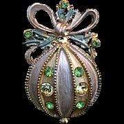 Christmas Ornament Rhinestone Pin