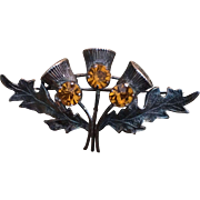 Sterling Silver WBS Scottish Thistle Rhinestone Pin