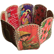 Rare Handmade Christmas Card Basket