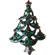 Large Rhinestone Christmas Tree Pin